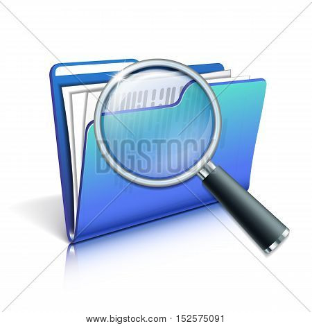 Search concept with Magnifying glass over the blue folder isolated on white background. Vector illustration