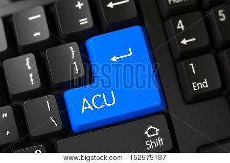 Acu Concept: Modern Laptop Keyboard with Blue Enter Key Background, Selected Focus. 3D Illustration.