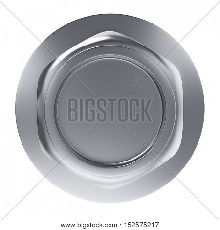 Metal bolt nut with washer top view isolated on white background. 3D rendering.