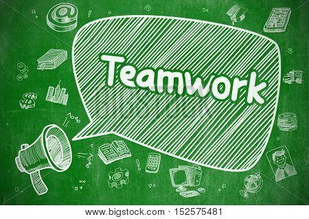 Shouting Mouthpiece with Text Teamwork on Speech Bubble. Cartoon Illustration. Business Concept. Teamwork on Speech Bubble. Hand Drawn Illustration of Shrieking Megaphone. Advertising Concept.