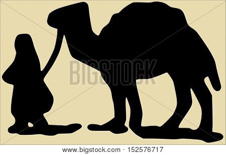 travel africa cameleer and camel silhouette vector