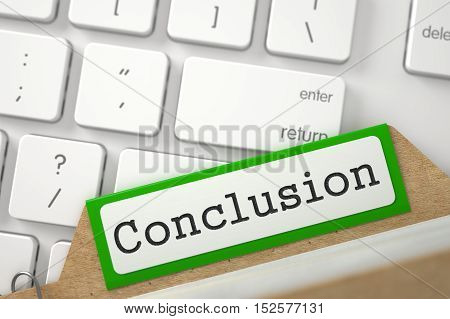 Conclusion. Green Card Index on Background of White Modern Keypad. Archive Concept. Closeup View. Blurred Image. 3D Rendering.