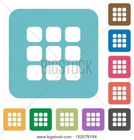 Flat small thumbnail view icons on rounded square color backgrounds.