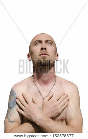 Baldness bearded man with tattoo isolated on white background