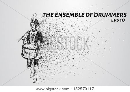 Drummer of the particles. The drummer in a school orchestra. The drummer breaks down into smaller molecules
