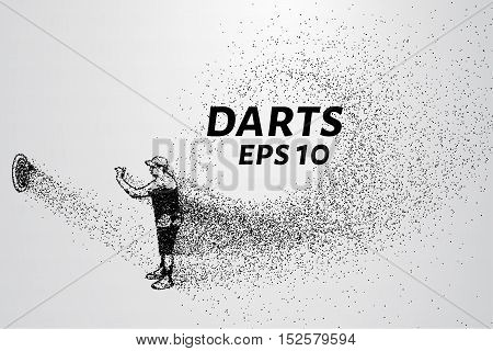 Darts of particles. Darts of dots and circles. Darts breaks down into smaller molecules.
