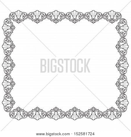 Vintage frame, baroque frame, scroll ornament frame, engraving border frame, floral frame, retro frame, pattern frame, antique frame, foliage frame, swirl decorative frame, filigree frame, calligraphy frame. vector