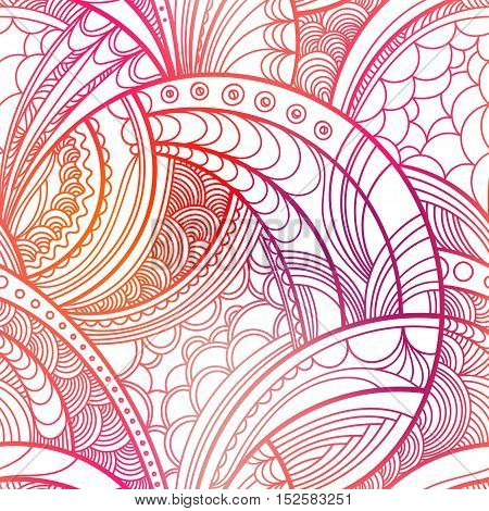 Hand drawn floral pattern. Colorful vector seamless background with linear botanical abstract illustration. Repeating texture boho style.