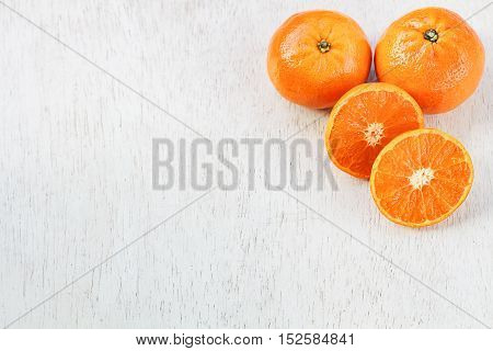 tangerines slice on white background, juicy tangerines on white space, fresh tangerines on white background.