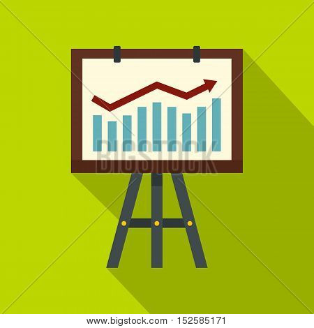 Projection screen with a graph icon. Flat illustration of projection screen with a graph vector icon for web isolated on lime background