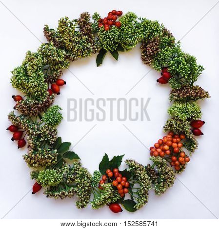 Green Floral Round Wreath Frame On White Background. Flat Lay, Top View, View From Above. Autumn Or