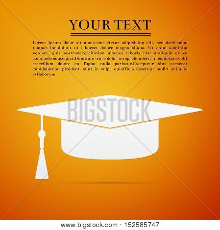 Graduation cap flat icon on orange background. Vector Illustration