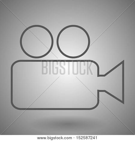 Video camera line icon vector illustration on gray background