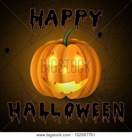 Scary Jack O Lantern halloween pumpkin with candle light inside on spider web background and with handwritten happy halloween vector