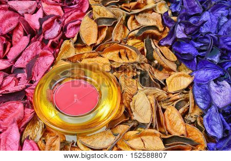 candle and colorful, various scents of potpourri