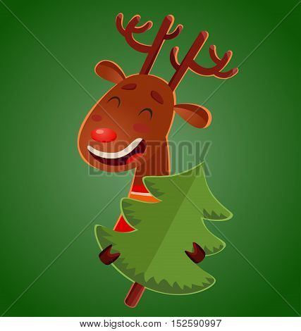 Cartoon cute christmas deer holding a christmas tree. Vector cheerful deer on green background.
