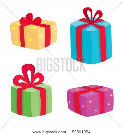 Christmas presents collection. Vector illustration of cartoon gifts isolated on white