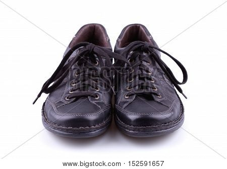 Black leather men's shoes isolated on white background.