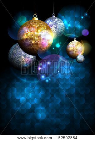 Christmas disco balls background with copy space for text, party concept, invitation mock up