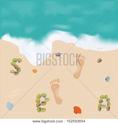 Beautiful Picture With The Sea And The Footprints In The Sand