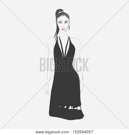 Vector hand drawn trendy fashion illustration. Young glamorous woman character. Concept for poster, magazine, website or card.