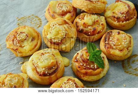 Easy puff pastry menu. Bacon & Cheese Puff Pastry Rolls.