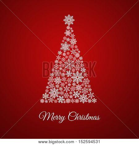 árbol de navidad hecho con copos de nieve sobre fondo rojo