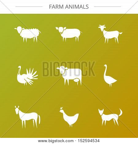 Vector farm animal modern flat icons. Goose goat cow dog chicken sheep horse pig turkey.