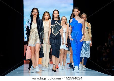 MOSCOW RUSSIA - OCTOBER 17 2016: Model walk runway for DASHA GAUSER catwalk at Spring-summer 2017 Mercedes-Benz Fashion Week Russia.