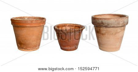 Old plant pots on a white background.