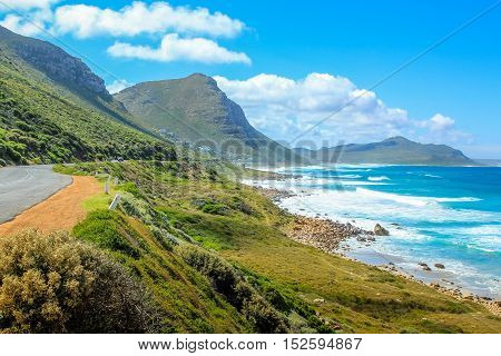 The scenic Misty Cliffs a little village between Kommetjie and Scarborough in Cape Peninsula, South Africa. Misty Cliffs, as its name says, is famous for its misty cliffs in stormy and windy days