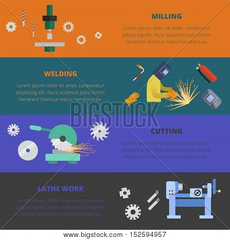 Vector metalworking concept and layout. Metal milling, welding, cutting and lathe work.