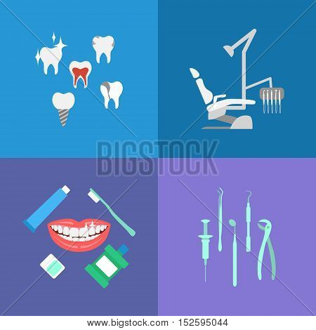 Vector dental care elements, icons. Dental chair mouthwash toothpaste floss dentist tools dentist smile.