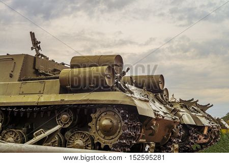 Rear of chassis old military tank. Tracks and extra fuel tanks. Artillery WWII. poster