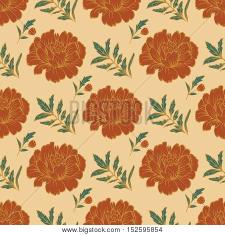 Ornate floral seamless background with flowers. Doodle sharpie background. template for card, poster, leaflet. Hand drawn