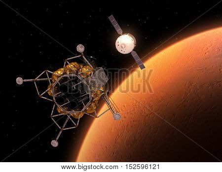 Interplanetary Space Station Orbiting Red Planet. 3D Illustration.