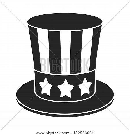 Uncle Sam's hat icon in black style isolated on white background. Patriot day symbol vector illustration.