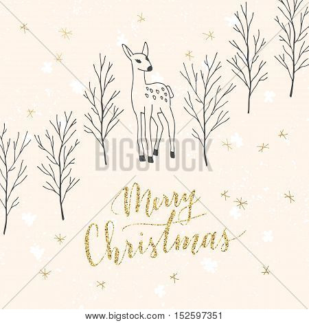 Vector hand written greeting Merry Christmas. Elegant lettering. Winter background. Pastel color holiday card with modern calligraphy. Fawn in forest. Branches and deer.
