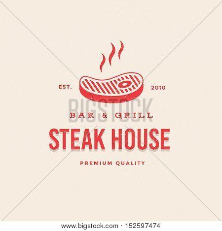 Logo Bar & Grill Steakhouse. Logo template for branding design. Vector image of steaming steak.