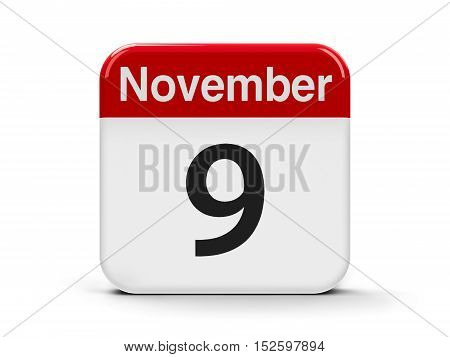 Calendar web button - The Ninth of November - International Day Against Fascism Racism and Antisemitism three-dimensional rendering 3D illustration