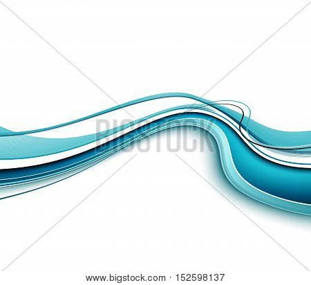Abstract Modern Blue Waved Shapes On A White Background