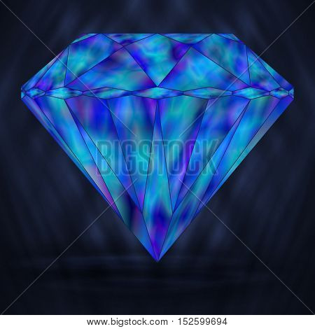 Blue Diamond Marine Crystal. Stylized Element Gemstone. Neptunian Crystal.