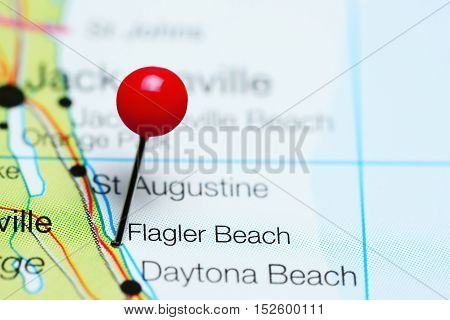 Flagler Beach pinned on a map of Florida, USA