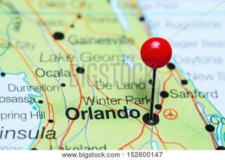 Orlando pinned on a map of Florida, USA