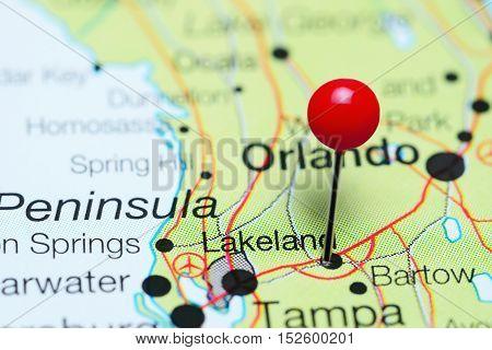 Lakeland pinned on a map of Florida, USA