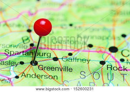 Greenville pinned on a map of South Carolina, USA