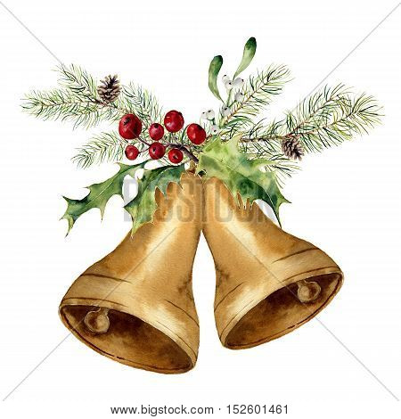 Watercolor christmas bell with christmas tree branch, mistletoe and holly decor. Gold bells with traditional decor isolated on white background. For design, prints or background.