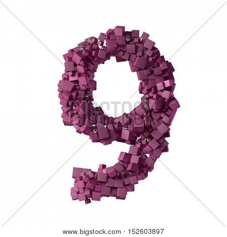 numbers from cubes, 9, nine, 3d illustration