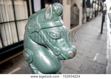 Teal horse head with bridle in French Quarter, New Orleans, Louisiana