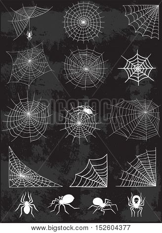 Spider web silhouette vector set